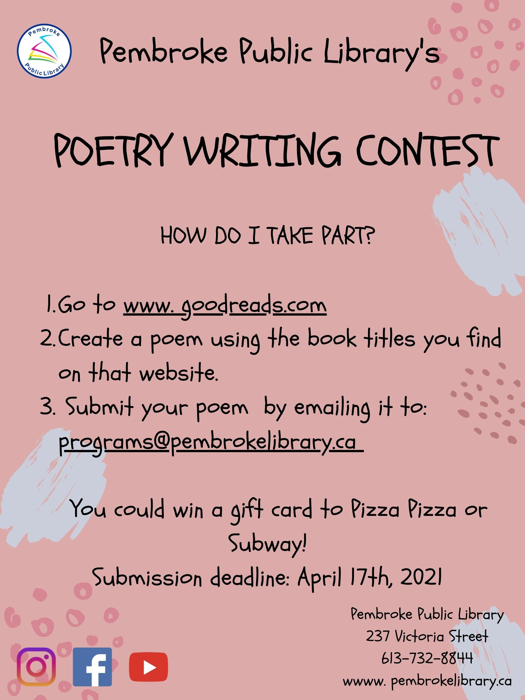 Poetry Writing Contest for Teens, Pembroke Public Library